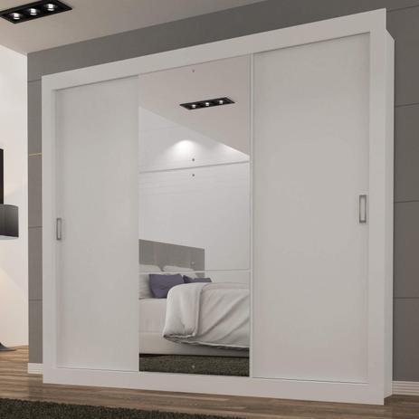 Imagem de Guarda Roupa Casal com Espelho 3 Portas de Correr Smart Espresso Móveis Branco