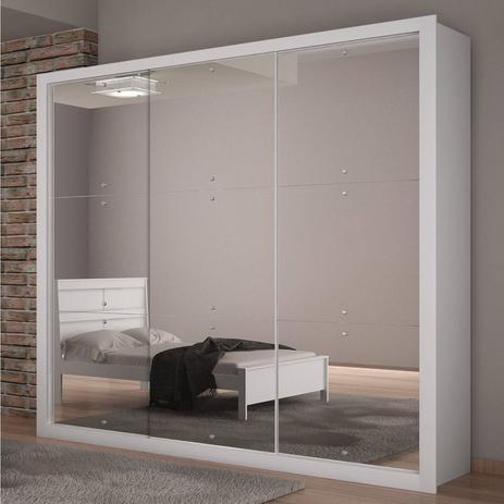 Imagem de Guarda Roupa Casal com Espelho 3 Portas de Correr Veneza Rufato Branco