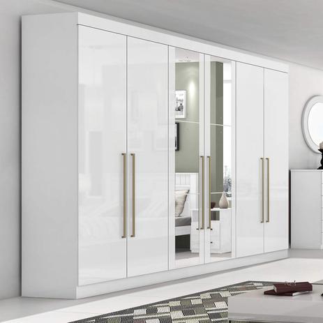 Imagem de Guarda Roupa Casal com Espelho 6 Portas 4 Gavetas Castellaro Móveis Lopas Branco