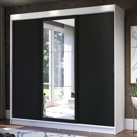 Imagem de Guarda-Roupa Casal Madesa Istambul 3 Portas de Correr com Espelho 3 Gavetas - Branco/Preto