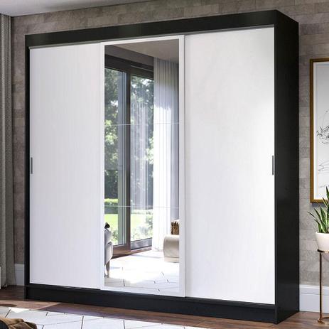 Imagem de Guarda-Roupa Casal Madesa Istambul 3 Portas de Correr com Espelho 3 Gavetas - Preto/Branco