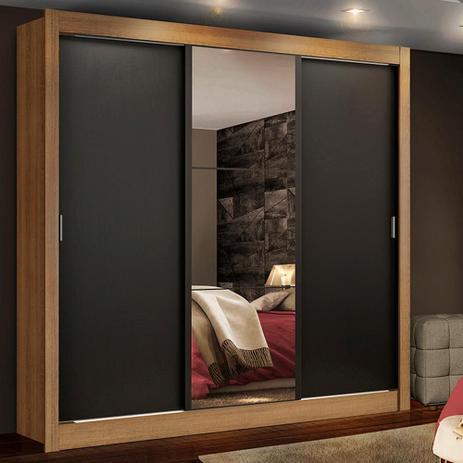 Imagem de Guarda Roupa Casal Madesa Lyon Plus 3 Portas de Correr com Espelho 4 Gavetas