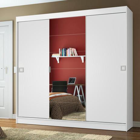 Imagem de Guarda-Roupa Casal Madesa Veneza 3 Portas de Correr Central com Espelho
