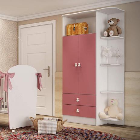 Imagem de Guarda Roupa de Bebê 2 Portas 2 Gavetas com Cantoneira Baby Móveis Percasa Branco/Rosa