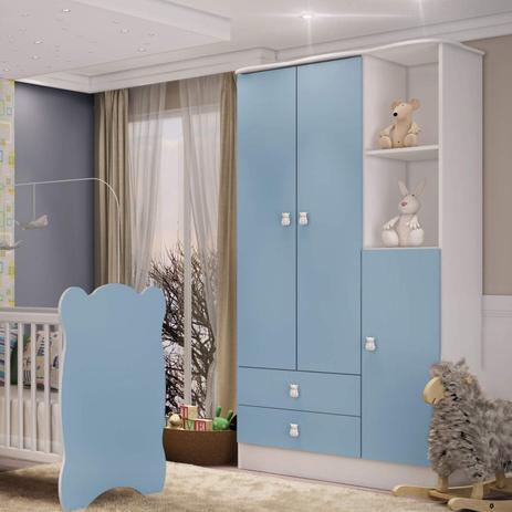 Imagem de Guarda Roupa de Bebê 3 Portas 2 Gavetas Baby Móveis Percasa Branco/Azul