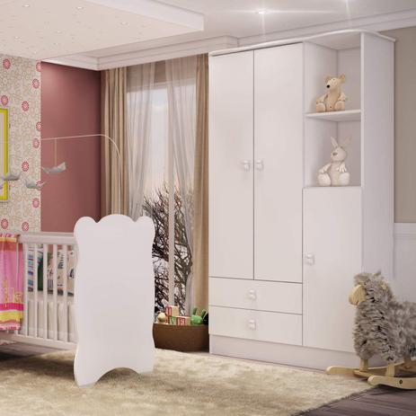 Imagem de Guarda Roupa de Bebê 3 Portas 2 Gavetas Baby Móveis Percasa Branco
