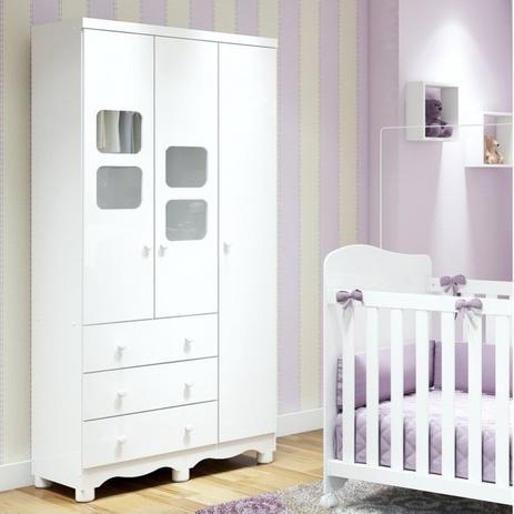 Imagem de Guarda Roupa de Bebê 3 Portas 3 Gavetas Uli Móveis Peroba Branco Brilho