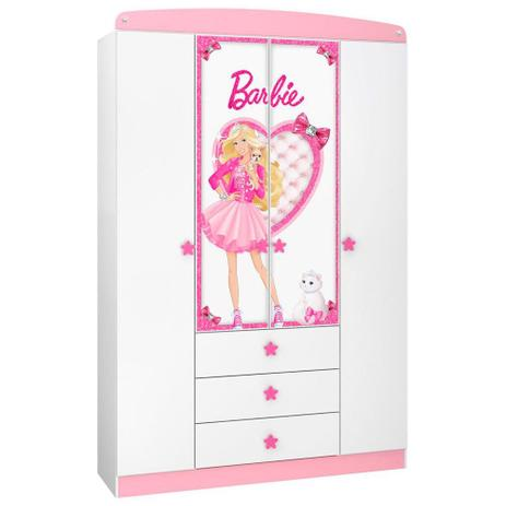 7cb943e860 Guarda-Roupa Infantil 4 Portas Barbie Star Pura Magia - Guarda-Roupa ...
