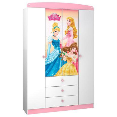 4f5479998b Guarda-Roupa Infantil 4 Portas Princesas Disney Star Pura Magia ...