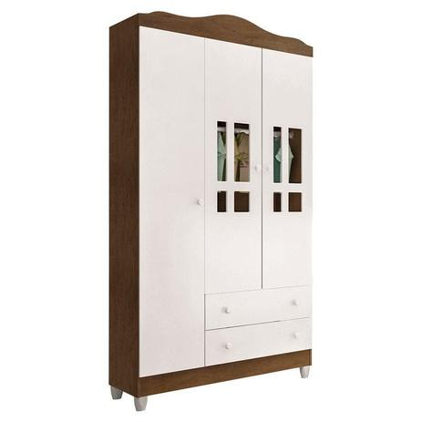 Imagem de Guarda Roupa Infantil Ariel 3 Portas Branco Acetinado Amadeirado  Carolina Móveis