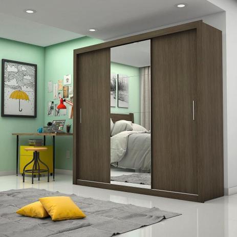Imagem de Guarda-Roupa Melissa Glass 3 Portas Com Espelho Malbec Carioca Móveis