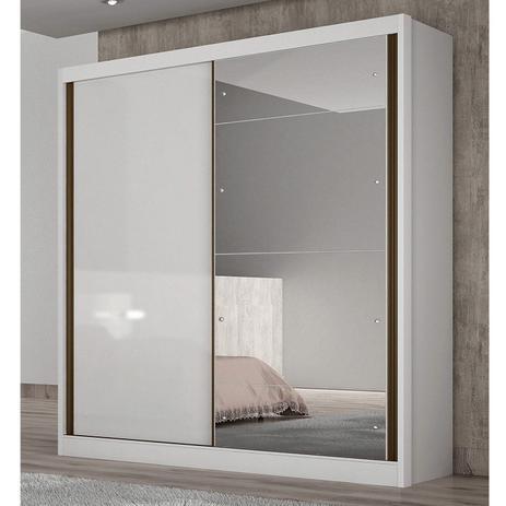 Imagem de Guarda Roupa Solteiro com Espelho 2 Portas de Correr Thor Novo Horizonte Branco
