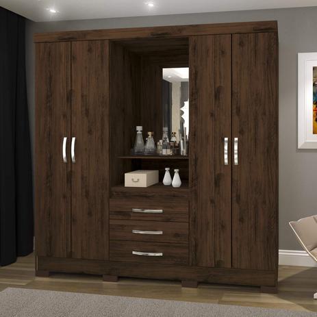 Imagem de Guarda Roupa Solteiro com Espelho 4 Portas 3 Gavetas BHappy Espresso Móveis Café