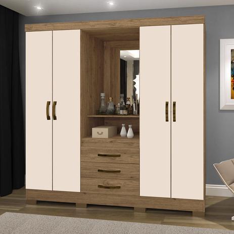 Imagem de Guarda Roupa Solteiro com Espelho 4 Portas 3 Gavetas BHappy Espresso Móveis Canela Rústico/Off White