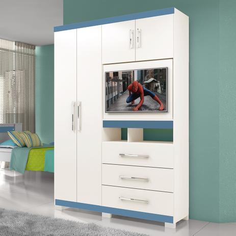 cef65970017080 Guarda Roupa Solteiro Com Painel Giratório E Sistema Flex Color Viena -  Moval
