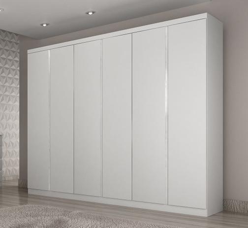 ae5c8f81d Guarda-roupas 100 MDF 6 portas e 4 gavetas branco Evoluto Novo Horizonte