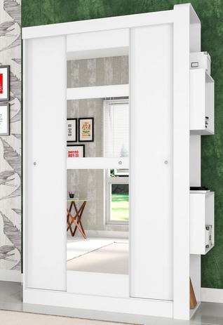 Imagem de Guarda-Roupas com 3 Portas de Correr com Espelhos Doce Cheiro Branco - Art In Móveis