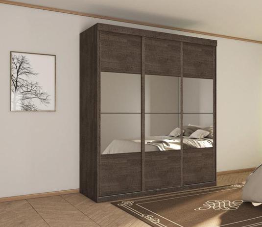 Imagem de Guarda Roupas Framar Atenas 3 Portas Deslizantes Com Espelhos Chocolate