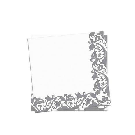 Imagem de Guardanapos de Papel Arabescos Prata 33cm 20 unidades Silverplastic