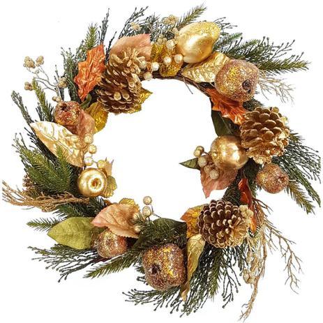 Imagem de Guirlanda natal com pinha e fruta com glitter dourado 10x44cm - grillo