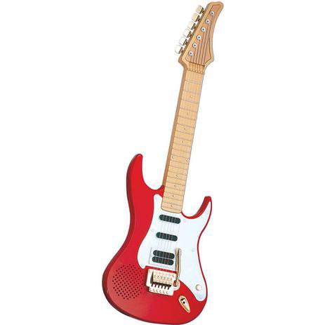Imagem de Guitarra Eletrônica Infantil Vermelha Cordas De Aço Dtc