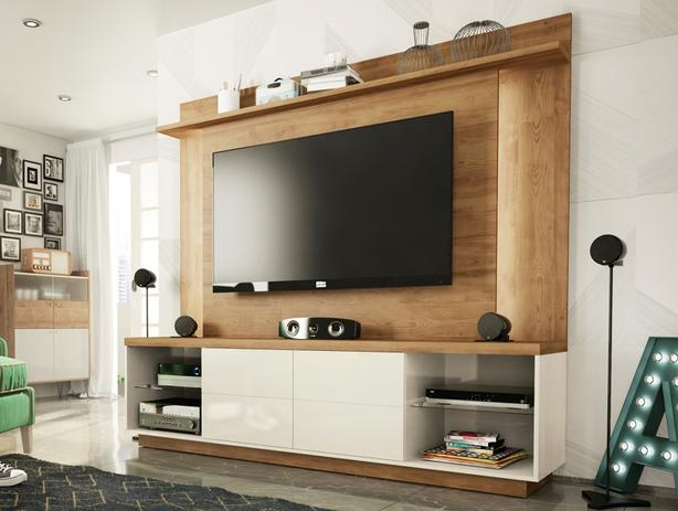 Home Theater Para TV Ate 55u201d Cadence Buriti/Off White Líder Design   Lider  Design