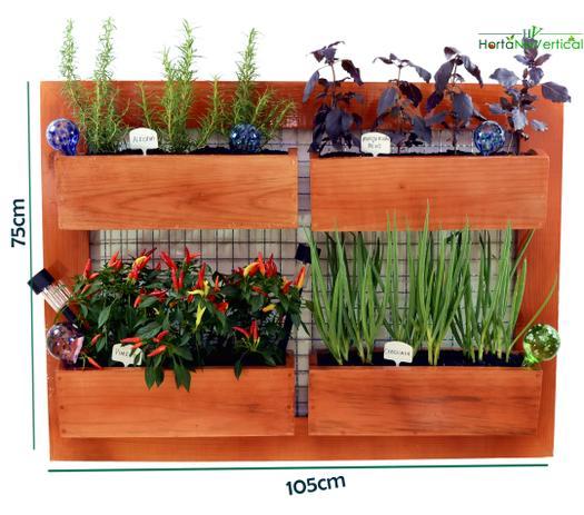 d57230a92 Horta Vertical em casa Horta Suspensa de 4 Vasos de plantio direto -  Hortanavertical