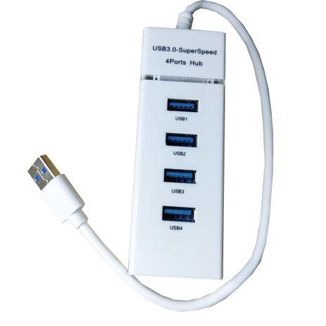 Imagem de HUB Adaptador USB 3.0 4 Portas 303 900mA Plug Play - BRANCO - MODEL 303