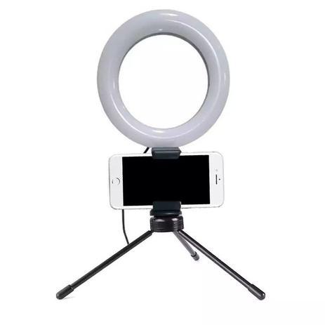 Imagem de Iluminador Ring Light 6 Polegadas (10cm) com Tripé e Suporte para Celular - Ideal para Digital Influencer, Vídeo Conferencia
