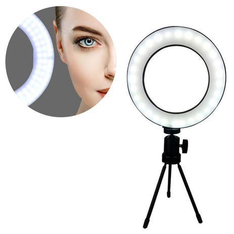 Imagem de Iluminador Ring Light Tripe Mesa LED Portatil Youtube Foto Video Controle Usb Quente/Fria Luz