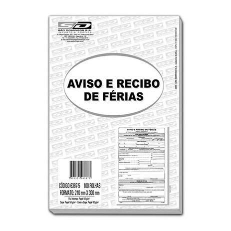 Impresso Aviso E Recibo De Ferias 6387 5 São Domingos Bl C100 Fl