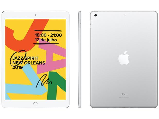 "iPad Apple 128GB Prateado Tela 10,2"" Retina - Proc. Chip A10 Câm. 8MP + Frontal 1,2MP iPadOS"