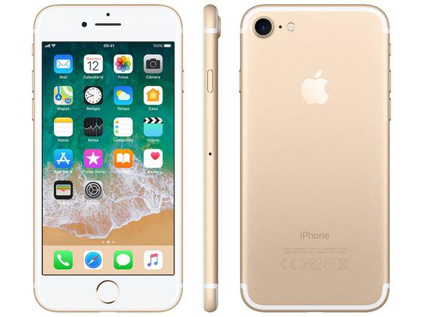 "494d72a4484 iPhone 7 Apple 128GB Dourado 4G Tela 4.7"" Retina - Câm. 12MP + Selfie 7MP  iOS 11 Proc. Chip A10"