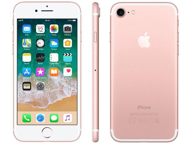 iphone 7 apple 32gb ouro rosa 4g tela 4 7 retina c m 12mp selfie 7mp ios 11 proc chip a10. Black Bedroom Furniture Sets. Home Design Ideas