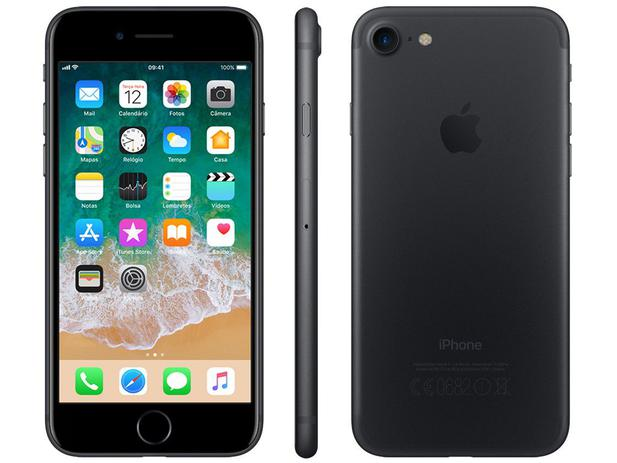 "5f7b797260d iPhone 7 Apple 32GB Preto Matte 4G Tela 4.7""Retina - Câm. 12MP + Selfie 7MP  iOS 11 Proc. Chip A10"