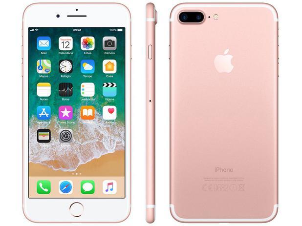 "6f51b34f6e6 iPhone 7 Plus Apple 32GB Ouro Rosa 4G Tela 5.5"" - Câm. 12MP + Selfie 7MP  iOS 11 Proc. Chip A10"