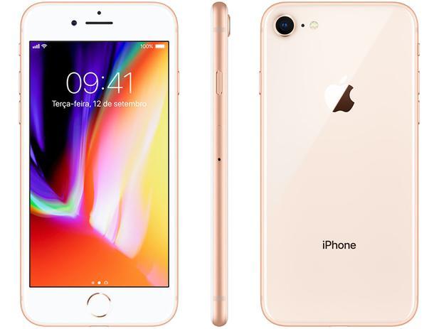 """iPhone 8 Apple 256GB Dourado 4G Tela 4,7"""" - Retina Câm  12MP + Selfie 7MP  iOS 11"""