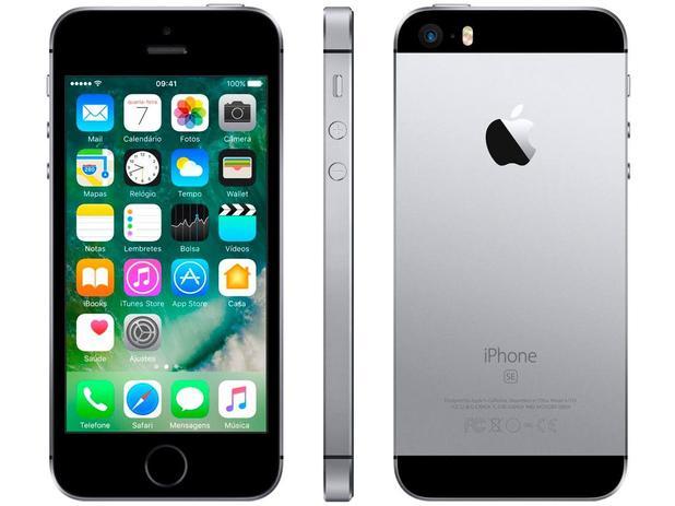 "iPhone SE Apple 128GB Cinza Espacial 4G Tela 4"" - Retina Câm. 12MP iOS 10 Proc. Chip A9 Touch ID"