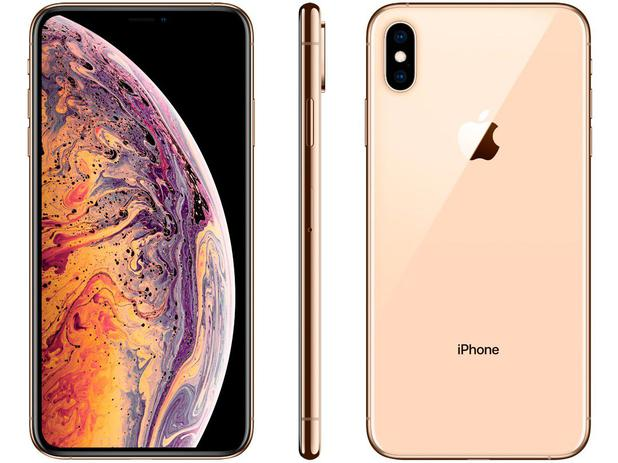 "huge selection of f7127 35151 iPhone XS Max Apple 512GB Ouro 4G Tela 6,5"" - Retina Câmera Dupla 12MP +  Selfie 7MP iOS 12"