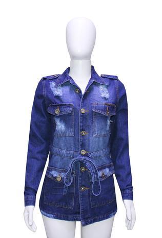 cadfdea7 Jaqueta Feminina Jeans Parka Com Ajuste Na Cintura - Revesst ...