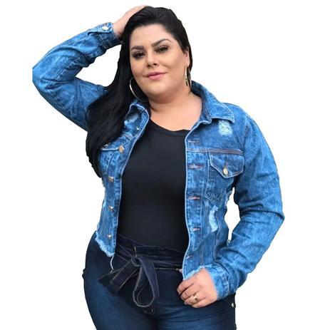 Imagem de Jaqueta Jeans Destroyed Feminino Plus Size Detalhe Rasgado G1 Ao G4
