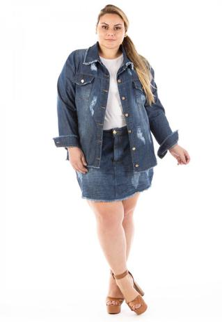 Imagem de Jaqueta Jeans Feminina Oversized Destroyed Plus Size