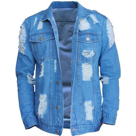 Imagem de Jaqueta Jeans Masculina Jaqueta De Frio Jeans Destruída B34