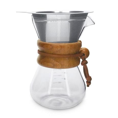 Imagem de Jarra passador de café vidro 350ml alca madeira coador inox