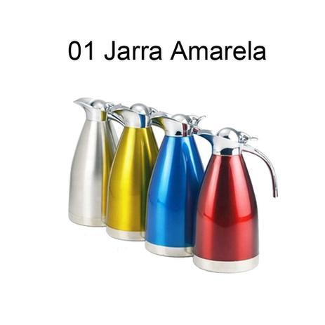 Imagem de Jarra Térmica de Vácuo Inox 1,5 L Redonda Amarela - Gp Inox