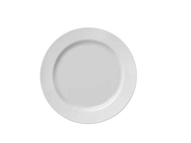 Imagem de Jogo 12 Pratos Rasos 1ª Linha Capri Porcelana Branca Germer 25 cm