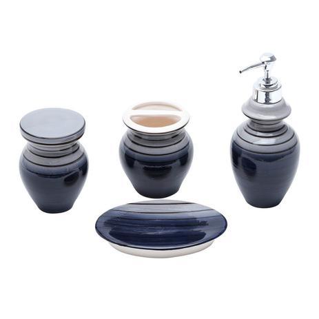 Imagem de Jogo 4 peças para banheiro de cerâmica cinza, azul e preto Vertigo Prestige - 25733