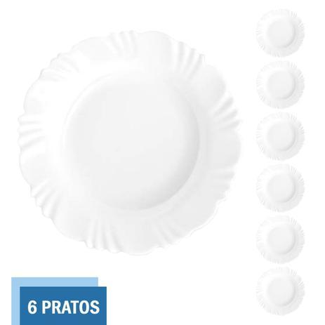 Imagem de Jogo 6 Pratos Fundo 23,5cm Redondos Pétala Refeição Duralex