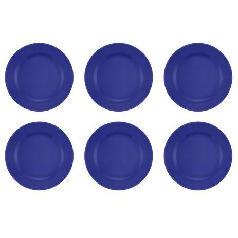 Imagem de Jogo 6 Pratos Rasos Donna Azul 24cm Biona