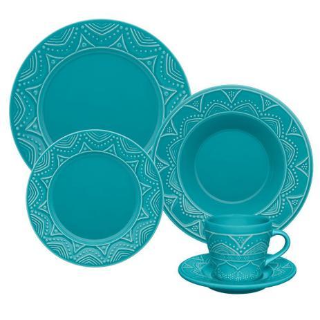 Imagem de Jogo 6 Pratos Rasos Serena Turquesa Oxford Porcelanas